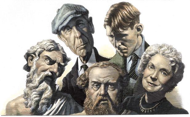 Leonard Cohen, Callimachus, W. H. Auden a Nelly Sachs. Kresba: Mark Summers