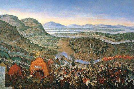 Obraz Franza Geffelsa zobrazuje Bitku pri Viedni v roku 1683.