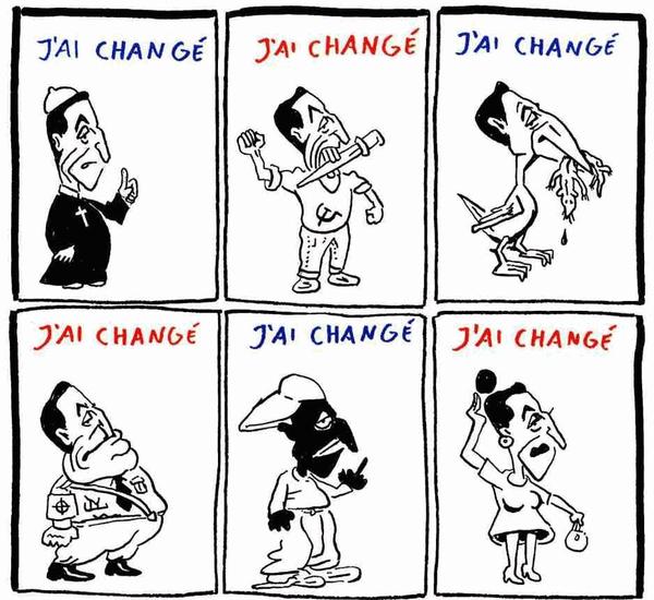 Zmenil som sa, hovorí bývalý francúzsky prezident Nicolas Sarkozy v karikatúre, ktorá vyšla v Charlie Hebdo 2.5.2007.