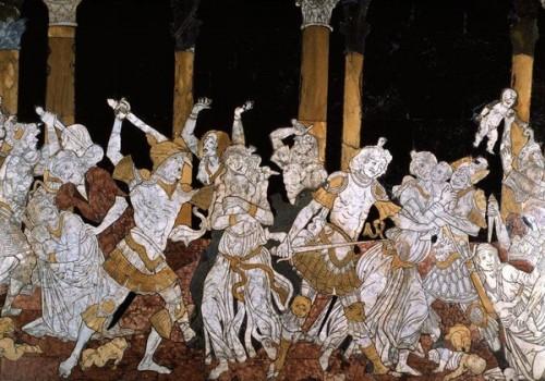Matteo di Giovanni: Vražda neviniatok (1481 - 1482), detail v sienskej katedrále.